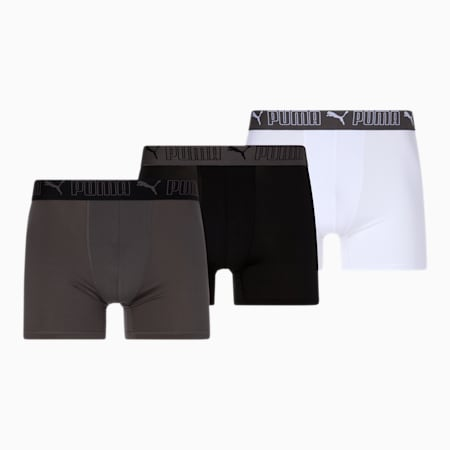 Men's Training Fit Boxers [3 Pack], WHITE / GREY, small